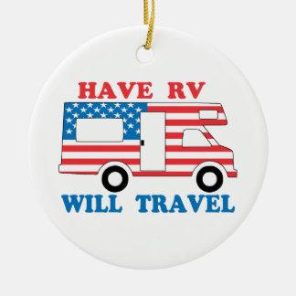 Have RV Will Travel America Ceramic Ornament