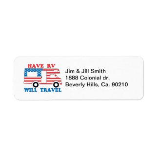 Have RV Will Travel America Return Address Label