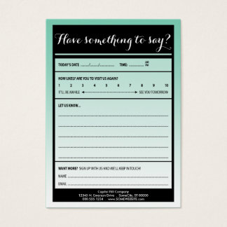have something to say comment card with logo