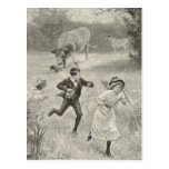Have to run, antique image postcard