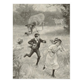 Have to run, antique image post card