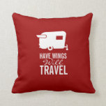 Have Wings Will Travel - Shasta Camper Trailer Throw Pillow