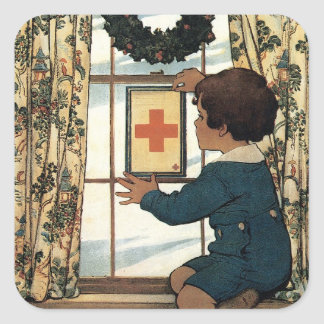 Have You a Red Cross Service Flag? Square Sticker
