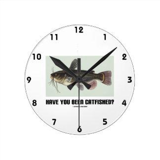 Have You Been Catfished? (Catfish Illustration) Round Clock