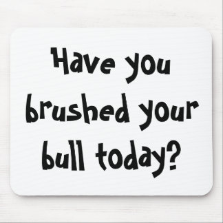 Have you brushed your bull today? mouse pad