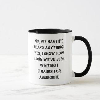 Have you heard anything yet? mug