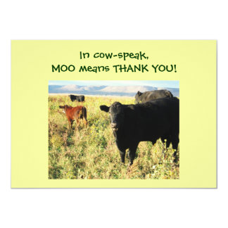 "Have You Herd? Calves - Western Thanks Baby Gift 4.5"" X 6.25"" Invitation Card"
