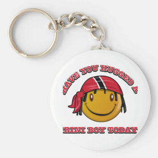Have you hugged a Trini boy today? Basic Round Button Keychain