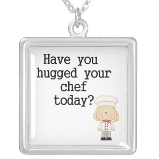 Have You Hugged Your Chef (female) Square Pendant Necklace