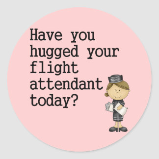 Have You Hugged Your Flight Attendant Classic Round Sticker