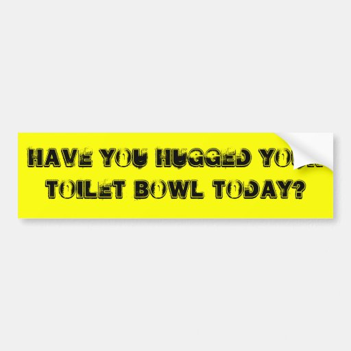 Have you hugged your toilet bowl today? bumper stickers