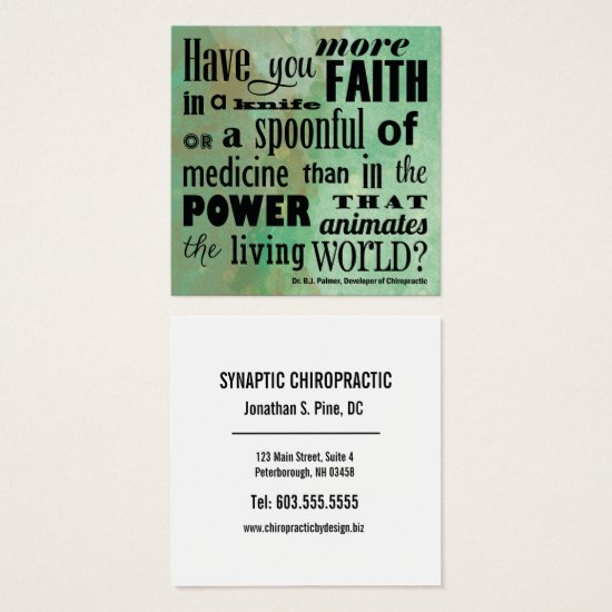 Have You More Faith Watercolor Chiropractic Square Business Card