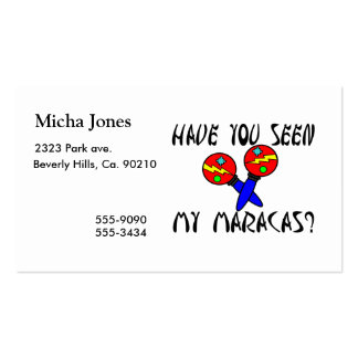 Have You Seen My Maracas Double-Sided Standard Business Cards (Pack Of 100)