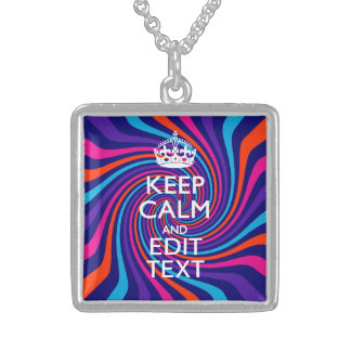 Have Your Keep Calm Saying on Multicolored Swirl Sterling Silver Necklace