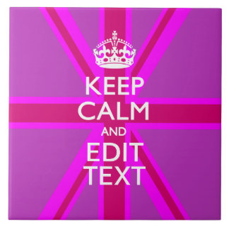 Have Your Keep Calm Text on Pink Union Jack Ceramic Tile