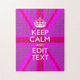 Have Your Keep Calm Text on Pink Union Jack Jigsaw Puzzle
