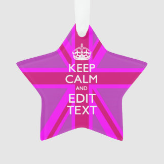 Have Your Keep Calm Text on Pink Union Jack Ornament