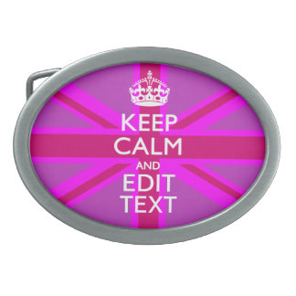Have Your Keep Calm Text on Pink Union Jack Oval Belt Buckle