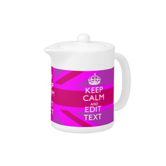 Have Your Keep Calm Text on Pink Union Jack Teapot