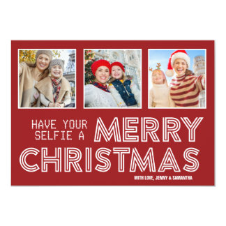 Have Your Selfie Merry Christmas 3 Instagram Photo Card