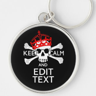 Have Your Text Keep Calm Crossbones Skull Keychain