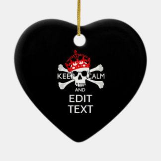Have Your Text Keep Calm Crossbones Skull on Black Ceramic Ornament