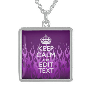 Have Your Text Keep Calm on Purple Racing Flames Sterling Silver Necklace