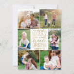 """Have Yourself a Merry Little Christmas Six Picture Holiday Card<br><div class=""""desc"""">Use our faux gold foil photo Christmas cards with six pictures and """"Have Yourself a Merry Little Christmas"""" wording to wish your friends and family a Merry Christmas. BONUS: The patterned backer can be changed to a different pattern and color. Go to the """"Personalize This Template"""" section then click the...</div>"""