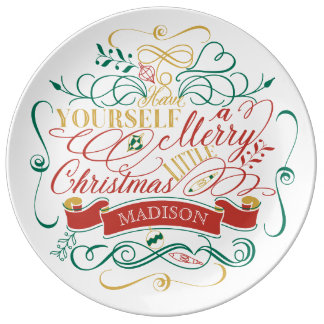 Have Yourself A Merry Little Christmas Typography Dinner Plate