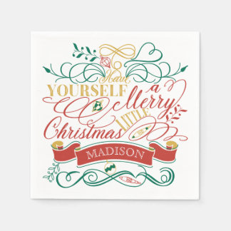 Have Yourself A Merry Little Christmas Typography Paper Napkin