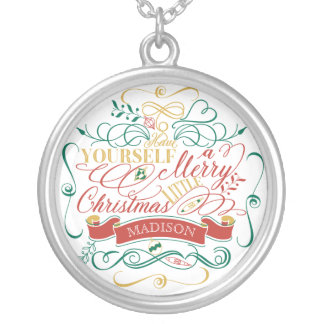 Have Yourself A Merry Little Christmas Typography Silver Plated Necklace