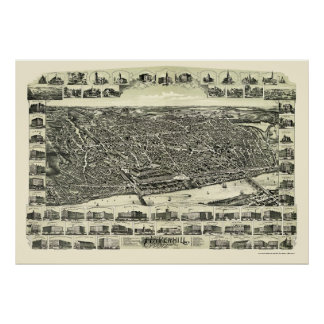 Haverhill mapa panorámico del mA - 1893 Impresiones
