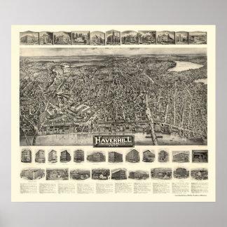 Haverhill mapa panorámico del mA - 1914 Poster