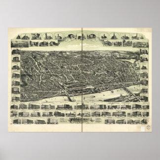 Haverhill Massachusetts 1893 Antique Panoramic Map Poster