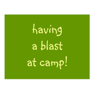 having a blast at camp! postcard