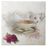"""Having a Cuppa Tea Tile<br><div class=""""desc"""">Soothing tones of rose and ivory are on this artist&#39;s rendering of enjoying a cup of tea in London,  or anywhere!</div>"""