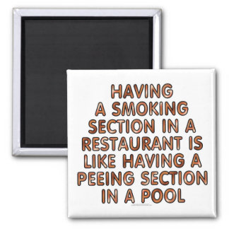 Having a smoking section in a restaurant... 2 inch square magnet