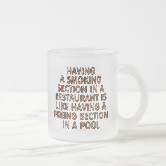 Having a smoking section in a restaurant... frosted glass coffee mug