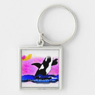 having a whale of a time alaska keychain
