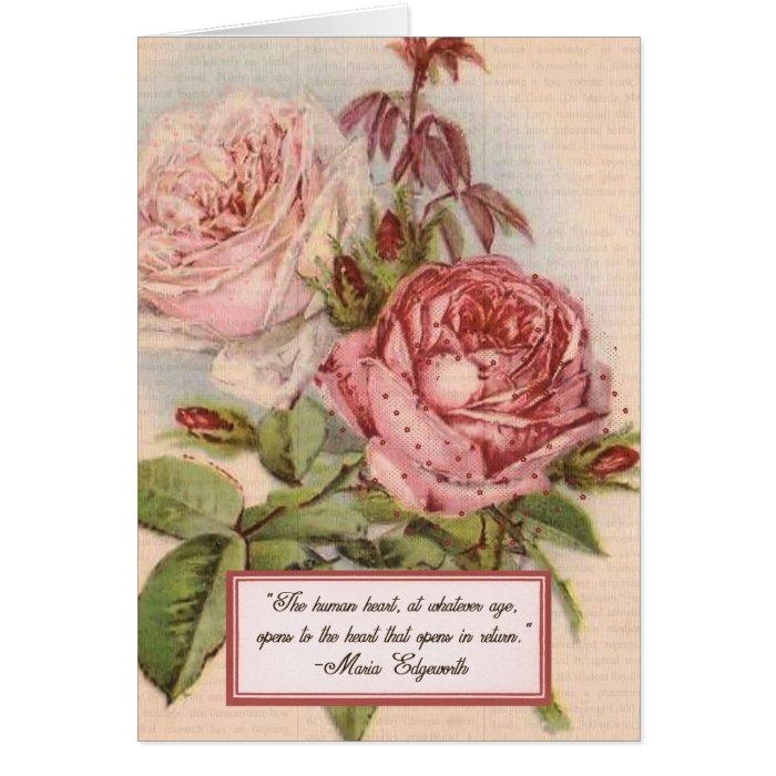 Having an Open Heart: Victorian Pink Roses Print Card