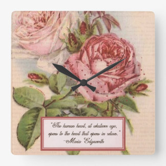 Having an Open Heart: Victorian Pink Roses Print Square Wallclocks