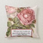 Having an Open Heart: Victorian Pink Roses Print Throw Pillow
