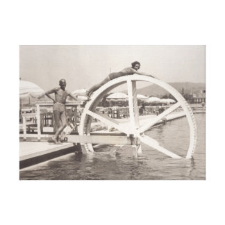Having fun on the beach in 1930s in Cannes France Canvas Print