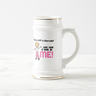 Having Hair Overrated Breast Cancer Stick Figure 18 Oz Beer Stein