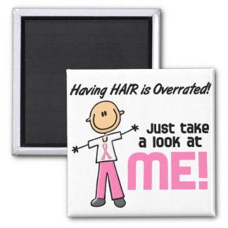 Having Hair Overrated Breast Cancer Stick Figure Fridge Magnet