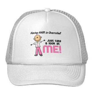 Having Hair Overrated Breast Cancer Stick Figure Trucker Hat