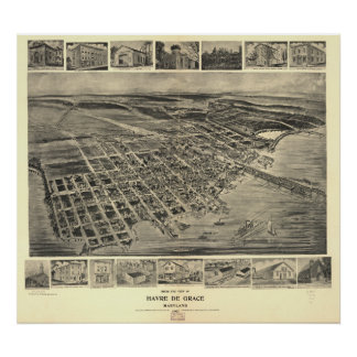 Havre de Grace Maryland 1907 Antique Panoramic Map Poster