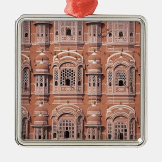 Hawa Mahal (palacio de vientos), Jaipur 2 Adorno Navideño Cuadrado De Metal