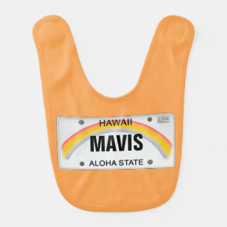 Hawai License Plate with Baby's Name Bib