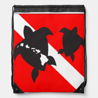 Hawai Turtle Dive Flag Drawstring Bag